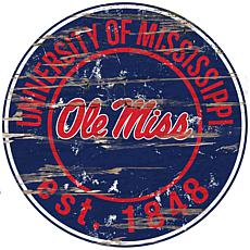 Officially Licensed NCAA  Distressed Round Sign - Un. of Mississippi