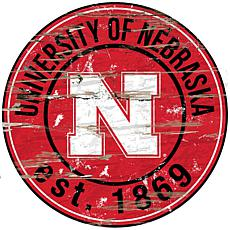 Officially Licensed NCAA  Distressed Round Sign - Un. of Nebraska