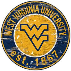 Officially Licensed NCAA  Distressed Round Sign - Un. of West Virginia