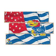Officially Licensed NCAA Kansas Three Plank Flag