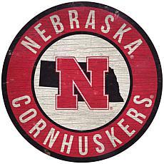 "Officially Licensed NCAA Nebraska 12"" Wood Circle"