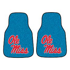 Officially Licensed NCAA Ole Miss Yale Blue Carpet Car Mat 2-Piece Set