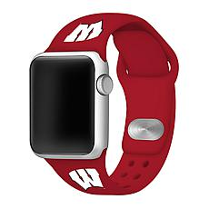 Officially Licensed NCAA Red 42/44MM Apple Watch Band - WI Badgers