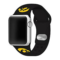 Officially Licensed NCAA  Silicone Apple Watch Band - Iowa - Black