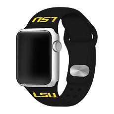 Officially Licensed NCAA Silicone Apple Watch Band - LSU - Black