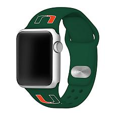 Officially Licensed NCAA Silicone Apple Watch Band - Miami - Green