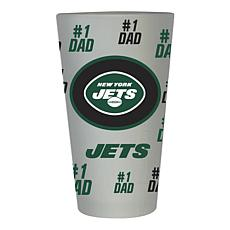 """Officially Licensed NFL """"#1 Dad"""" 16 oz. Frosted Pint Glass -  Jets"""