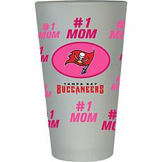 """Officially Licensed NFL """"#1 Mom"""" Frosted Pint Glass - Tampa Bay Bucs"""
