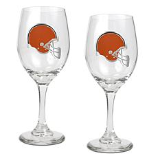 Officially Licensed NFL 2-piece Wine Glass Set-Browns