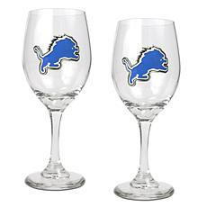 Officially Licensed NFL 2-piece Wine Glass Set-Detroit