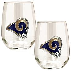 Officially Licensed NFL 2-piece Wine Glass Set - Rams