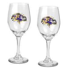 Officially Licensed NFL 2pc Wine Glass Set - Baltimore