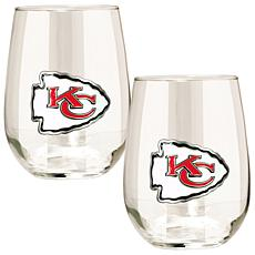 Officially Licensed NFL 2pc Wine Glass Set - Chiefs