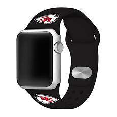 Officially Licensed NFL 38/40mm Black Apple Watch Band- KS City Chiefs