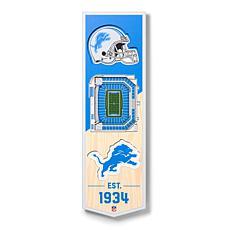 "Officially Licensed NFL 6"" x 19"" 3-D Stadium Banner - Detroit Lions"