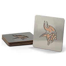 Officially Licensed NFL Boasters 4-piece Coaster Set - MN Vikings