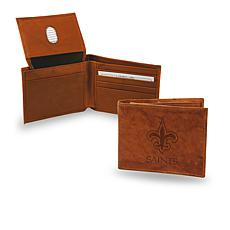 Officially Licensed NFL Embossed Leather Billfold - Saints