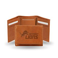 Officially Licensed NFL Embossed Leather Trifold - Lions