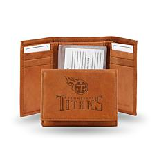 Officially Licensed NFL Embossed Leather Trifold - Titans