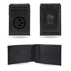 Officially Licensed NFL Engraved Black Front Pocket Wallet - Steelers