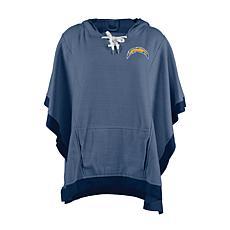 Officially Licensed NFL Heathered Hoodie Poncho - Los Angeles Chargers