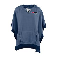Officially Licensed NFL Heathered Hoodie Poncho - New England Patriots