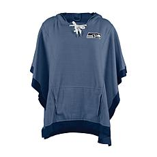 Officially Licensed NFL Heathered Hoodie Poncho - Seattle Seahawks