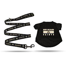Officially Licensed NFL Large Pet T-Shirt with 6' Leash - Saints