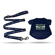 Officially Licensed NFL Large Pet T-Shirt with 6' Leash - Seahawks