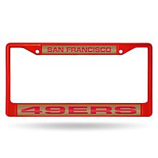 Officially Licensed NFL Laser-Cut Chrome License Plate Frame -  49ers