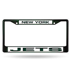 Officially Licensed NFL Laser-Cut Chrome License Plate Frame -  Jets