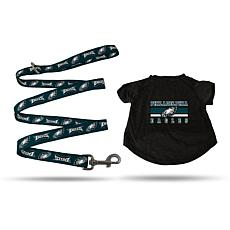 Officially Licensed NFL Medium Pet T-Shirt with 4' Leash - Eagles