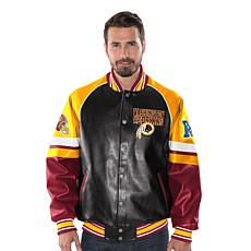 check out 3f535 43db9 Officially Licensed NFL Men's Faux Leather Varsity Jacket by Glll