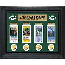 Officially Licensed NFL Packers 4-Time Champs Deluxe Ticket Collection