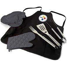 Officially Licensed NFL Picnic Time Apron Tote Pro Grill Set Steelers