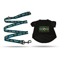 Officially Licensed NFL Small Pet T-Shirt with 4' Leash - Jaguars