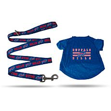 Officially Licensed NFL Small Pet T-Shirt with 4' Leash - Bills