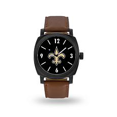 """Officially Licensed NFL Sparo""""Knight""""Faux LeatherWatch - Saints"""