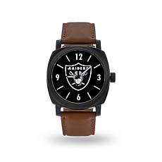 "Officially Licensed NFL Sparo ""Knight"" Faux Leather Watch - Raiders"