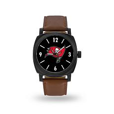 "Officially Licensed NFL Sparo ""Knight"" Faux Leather Watch - Buccaneers"