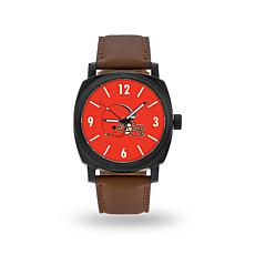 "Officially Licensed NFL Sparo ""Knight"" Faux Leather Watch - Browns"