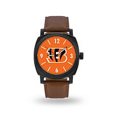 """Officially Licensed NFL Sparo""""Knight""""Faux LeatherWatch - Bengals"""