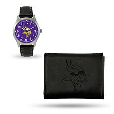 Officially Licensed NFL Trifold Wallet and Watch Gift Set in Black 2c28ccf33