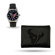 Officially Licensed NFL Trifold Wallet and Watch Gift Set in Black