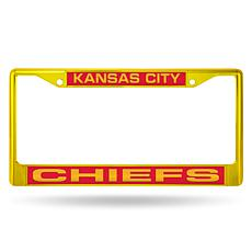 Officially Licensed NFL Yellow Laser-Cut Chrome License Plate Frame...