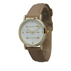Olivia Pratt Goldtone Arrow Dial Beige Faux Leather Strap Watch