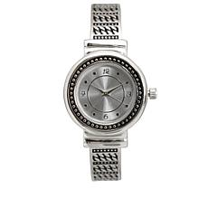 Olivia Pratt Silvertone Braided Metal Cuff Watch