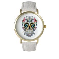 Olivia Pratt Sugar Skull White Faux Leather Strap Watch