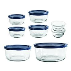 Oneida Classic 16-Pc Round Glass Food Storage Set with Navy Lids