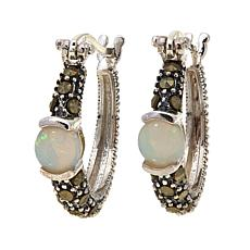 Opal   and Gray Marcasite  Hoops - October